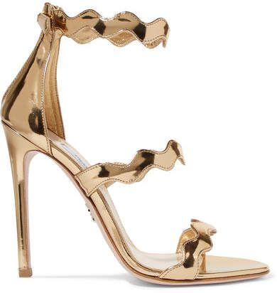 9939ff1e7e08 Prada - Scalloped Metallic Leather Sandals - Gold