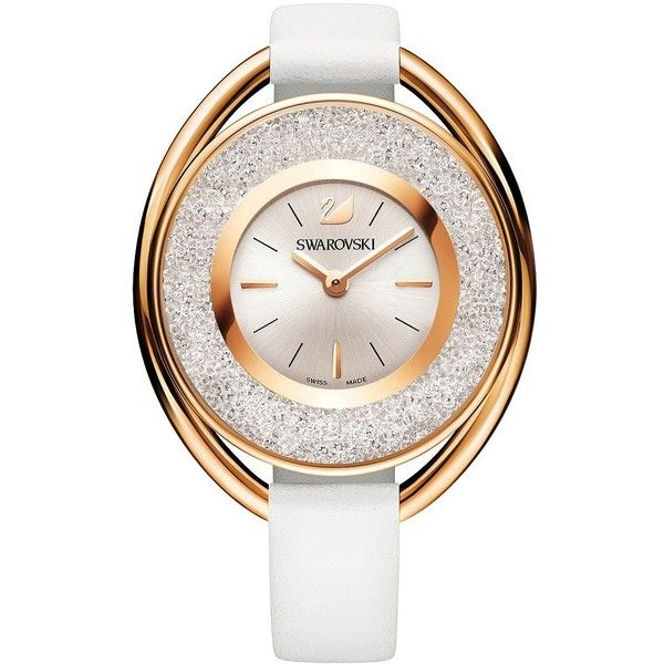 Swarovski 18K Rose Gold Plated Crystalline Oval Watch ($379) ❤ liked on Polyvore featuring jewelry, watches, white, polish jewelry, swiss quartz watches, rose gold plated jewelry, 18 karat gold watches and 18k jewelry