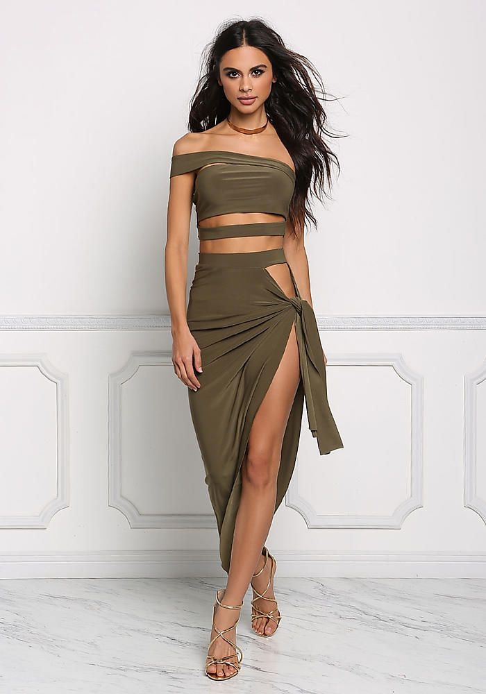 95c29c797253 Olive Sarong High Slit Maxi Skirt - Two Piece Sets - Trends ...