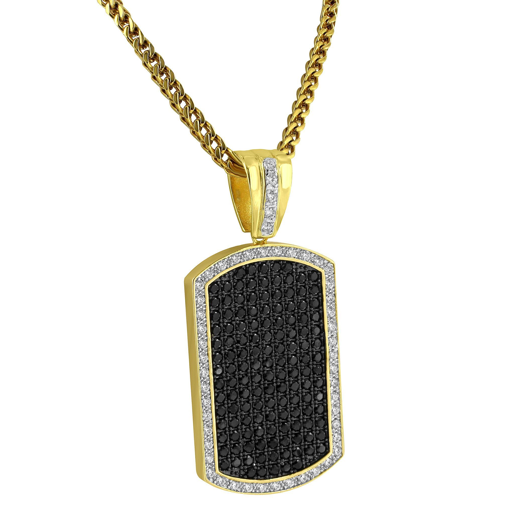 Hip Hop 14k Gold Plated Iced Out Lab Diamonds Blue Ross Dog Tag Pendant Bling