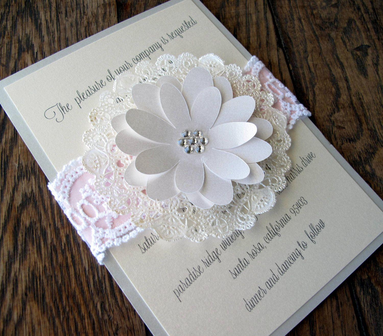 Lace Doily Wedding Invitation Country Shabby Chic. $8.00