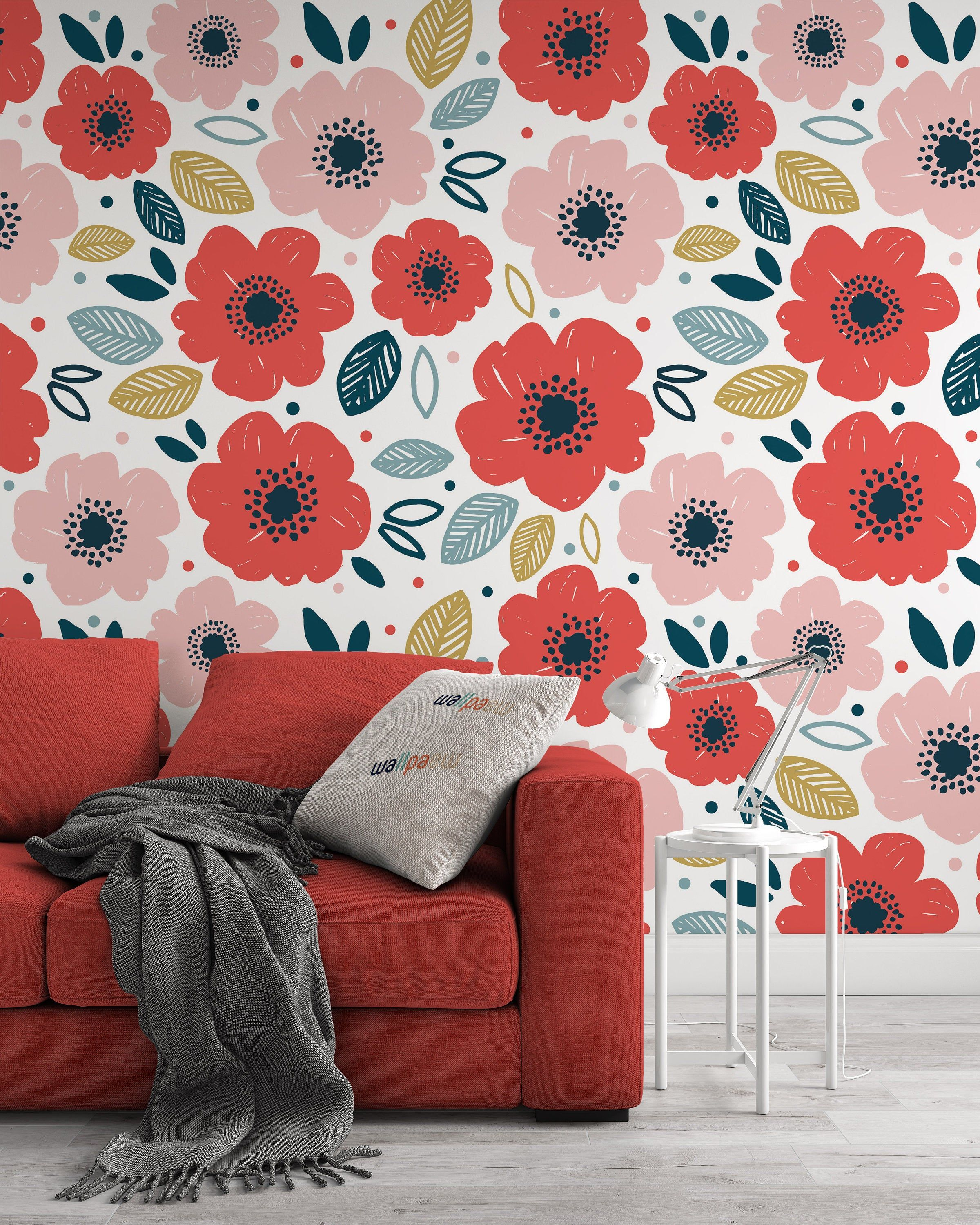 Anemone Red And Pink Flowers Colorful Leaves Background Floral Etsy In 2021 Mural Wall Art Home Wall Art Wall Murals Bedroom