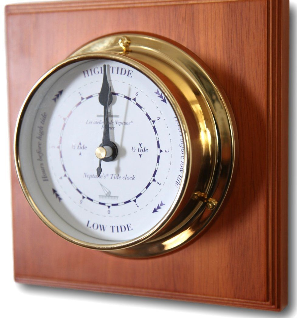 brass tide clock mounted on polished wooden plaque awesome products selected by anna churchill - Tide Clock