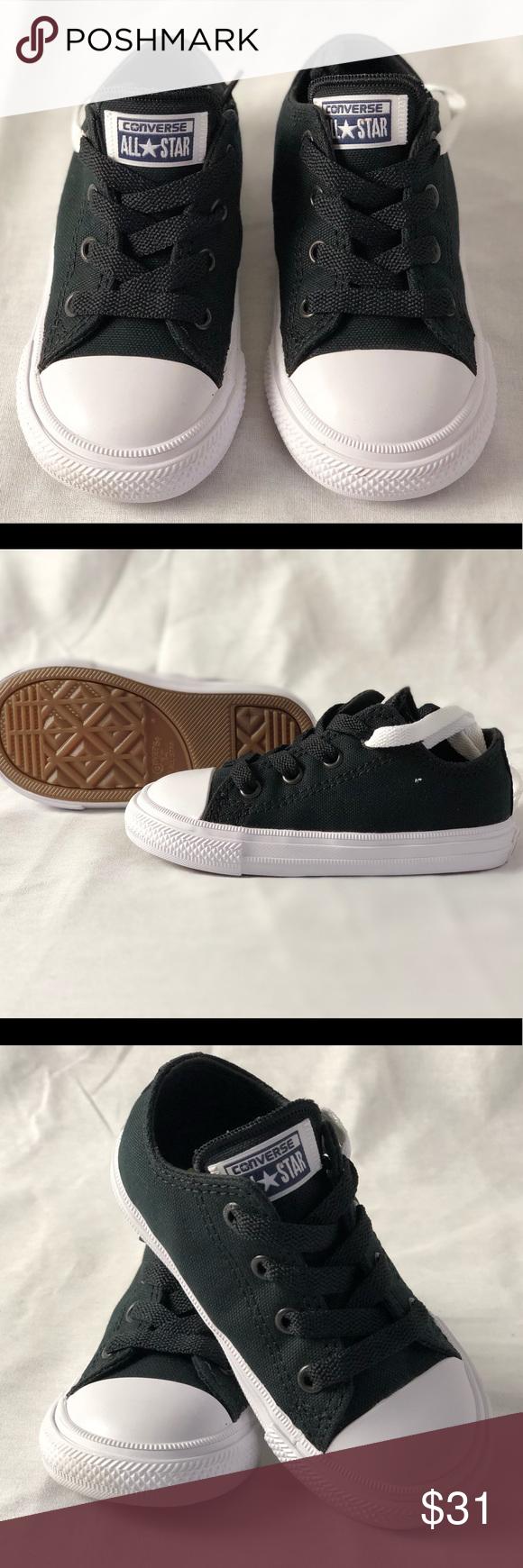 184eb74b949 CONVERSE Infant CTAS II OX Black White Navy Size 7 CONVERSE Infant Chuck  Taulor 2 AII OX Trainers Kids Shoes. Black White Navy Size 7 Converse Shoes  ...
