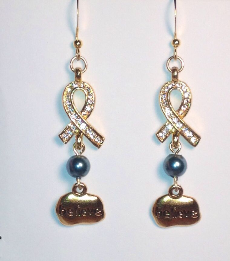 Ovarian cancer earrings. $15