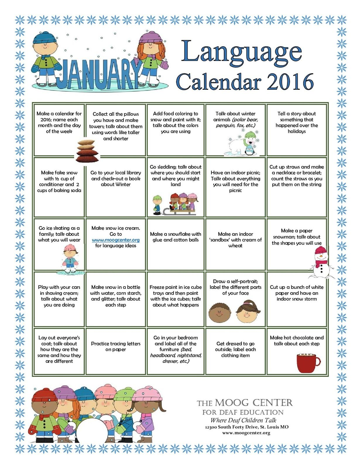 Hearsaylw January Listening And Spoken Language Printable Calendar