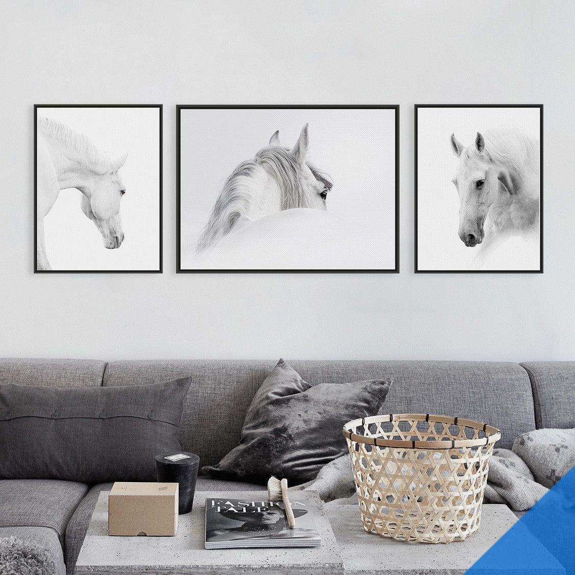 Gift animal white horse home cafe hotel wall decor hanging poster