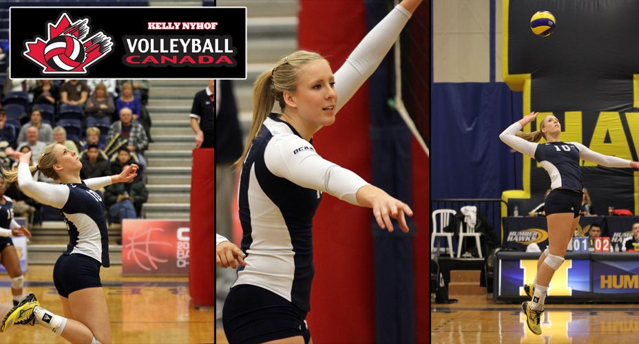 Kelly Nyhof Named To Team Canada Volleyball Humberhawks Gohawksgo Hawkya Team Canada Volleyball Sport Motivation