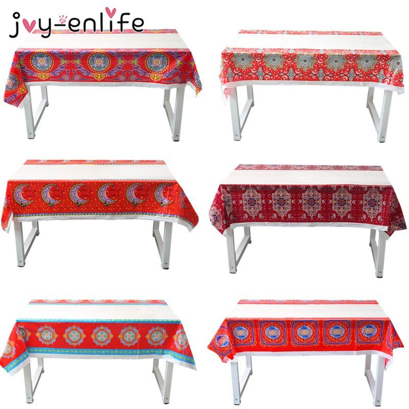 Disposable Plastic Table Cloths Eid Mubarak Ramadan Table Cover Tablecloth Waterproof For Moslem Islamism Decoration 180 108cm