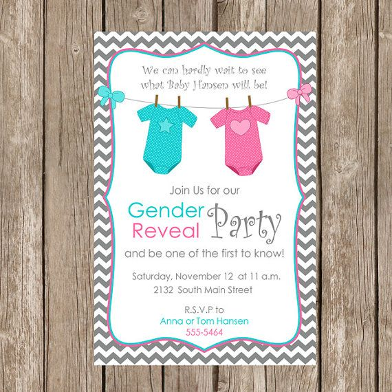 gender reveal invitation baby reveal invite by modernbeautiful - Free Printable Gender Reveal Party Invitations