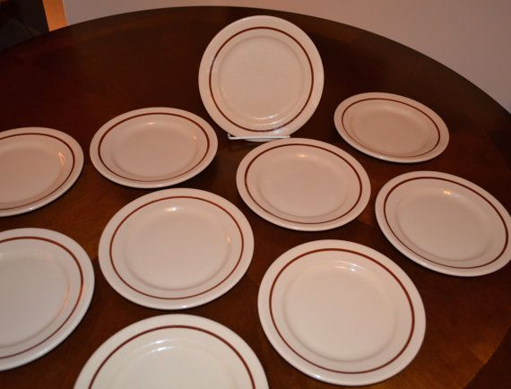 SET of 10 - Buffalo China Cafe - Bread Butter Plate - Tan with Rust ...