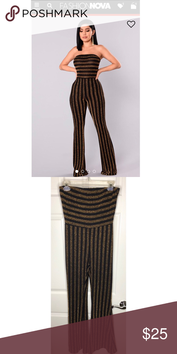 """4c6844c77537 Down And Counting Striped Jumpsuit •Brand New w  Tags •Gold Black Shimmery  jumpsuit •I m 5 8""""   the length is perfect Fashion Nova Pants Jumpsuits    Rompers"""