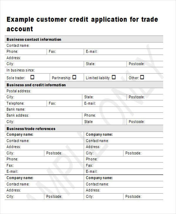 customer credit application form template 28 images trade reference