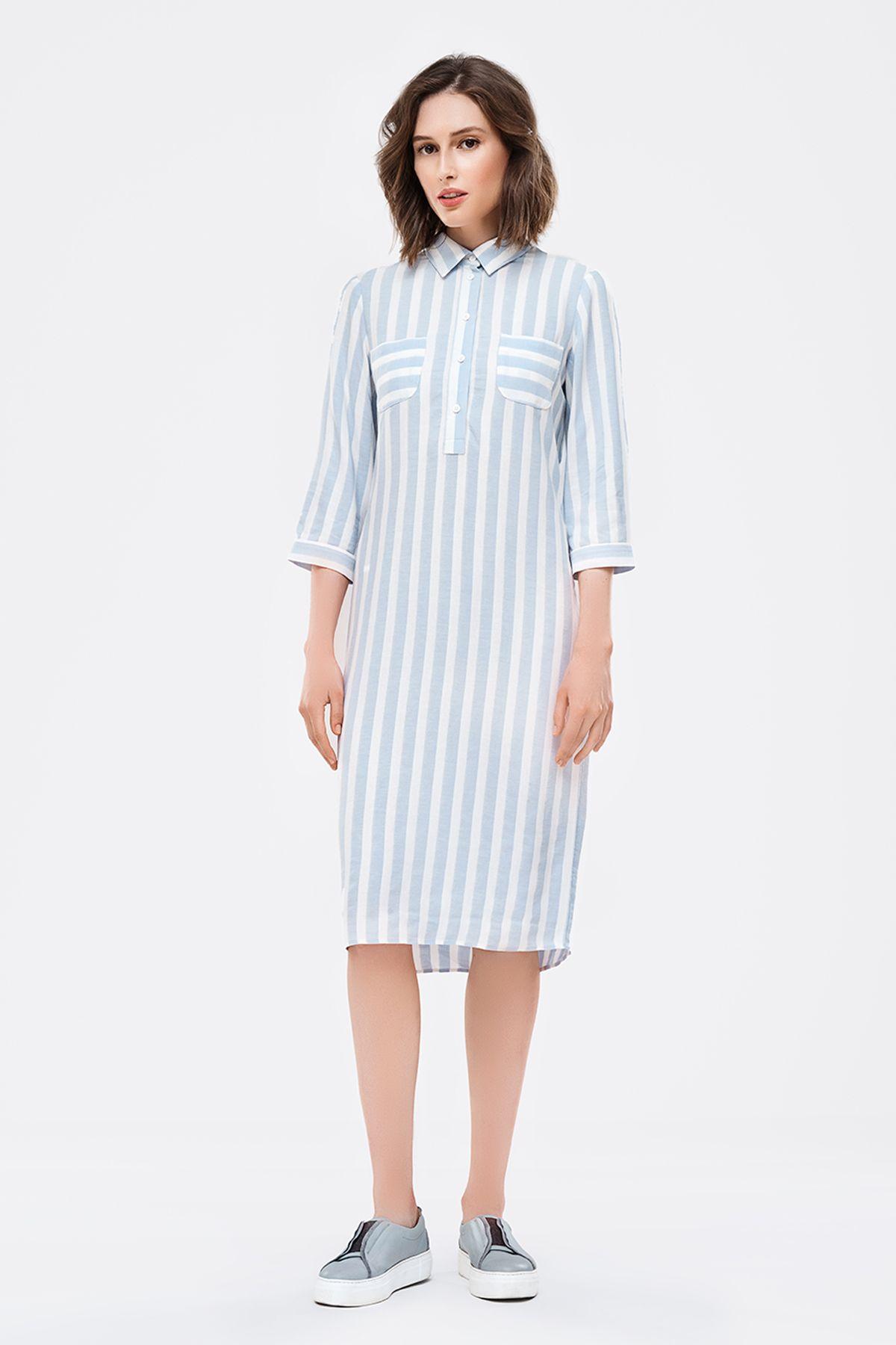 8622001bacf2 2840 Платье-рубашка в бело-голубую полоску купить в Украине, цена в ...