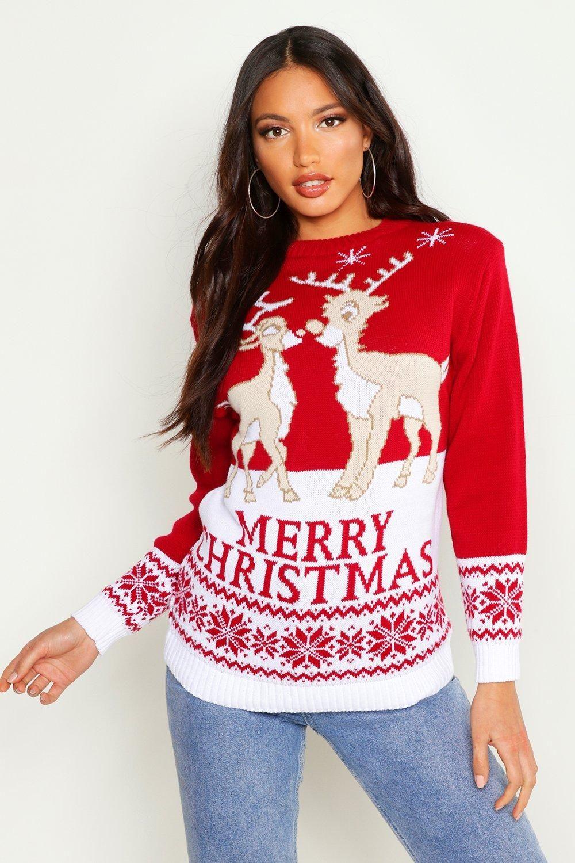 Two Reindeers Merry Christmas Sweater Boohoo Christmas Sweaters Christmas Sweaters For Women Reindeer Christmas Sweater [ 1500 x 1000 Pixel ]