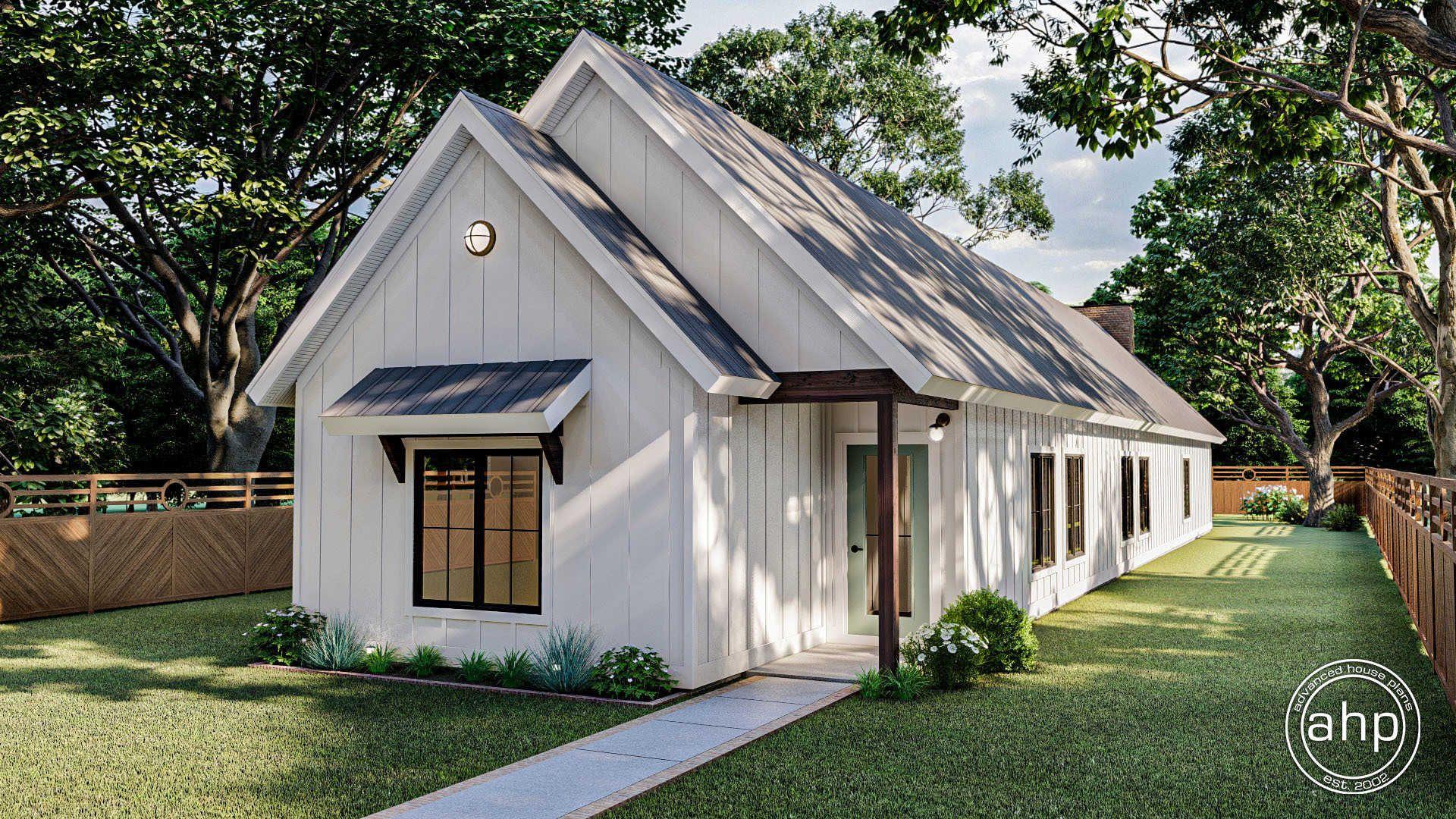 1 story narrow modern farmhouse plan buckhead ridge in