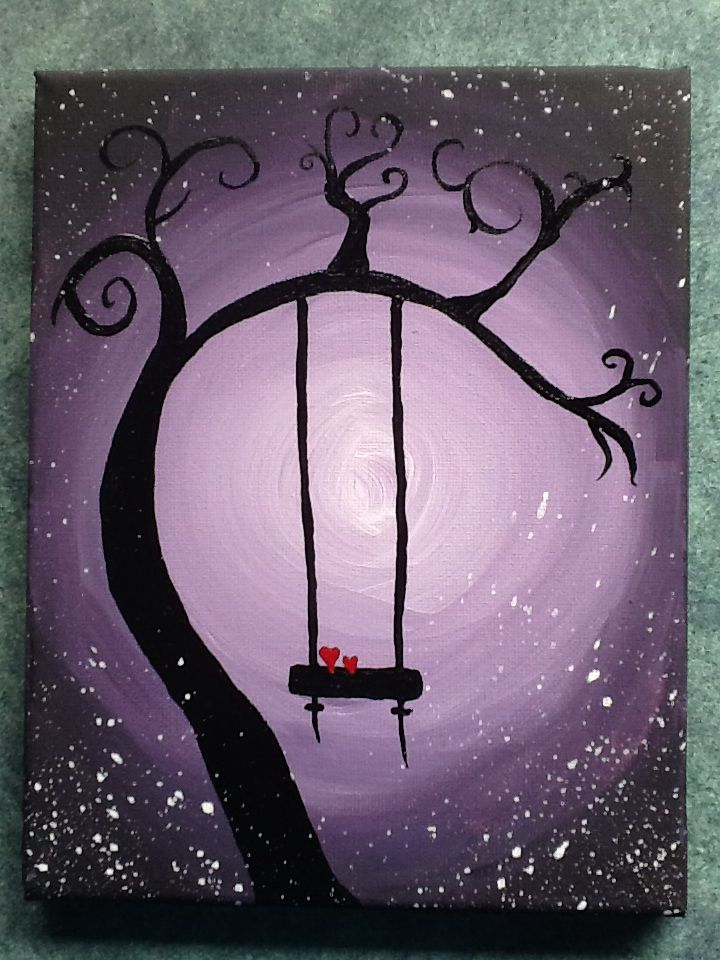 Easy Acrylic Painting Whimsical Tree With A Swing Tuval