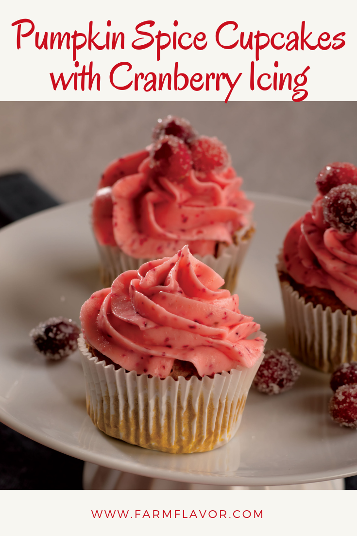 Pumpkin Spice Cupcakes with Cranberry Icing #pumpkinspicecupcakes