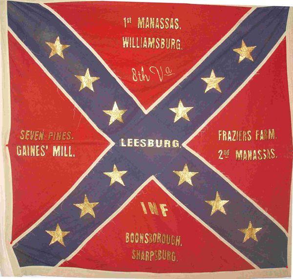 Battle Flag Of The 8th Virginia Infantry At Gettysburg On July 3 1863 The 8th Was Part Of Garnett S Brigade Pic Civil War Flags American Civil War War Flag