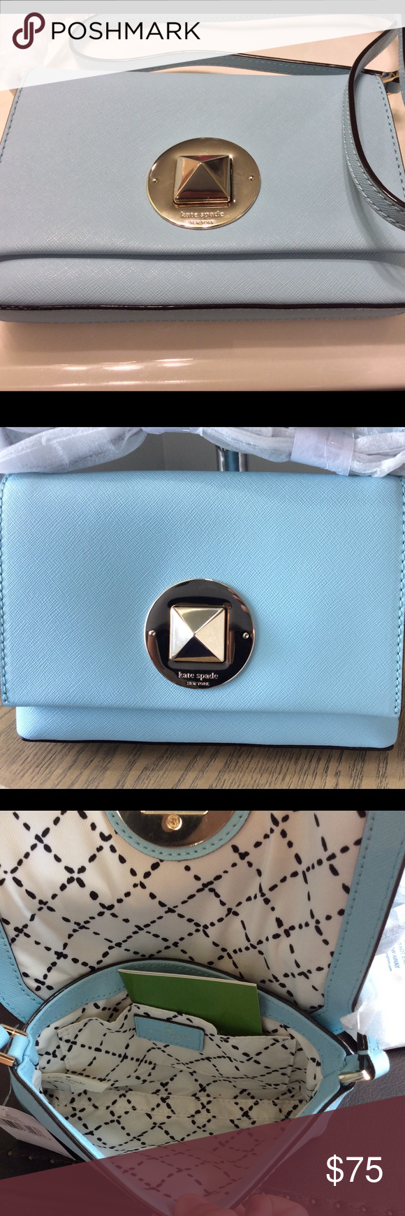 "NWT Kate Spade Newbury Lane Sally Crossbody Purse MSRP $155.00  NWT AUTHENTIC KATE SPADE NEWBURY LANE SALLY CROSSBODY PURSE.  WKRU3430  Color is Blehydrnga (417)  UPC #0 98689 87023 6  This is a beautiful blue hydrangea.   4.9""h x 7.4""w x 1.1""d drop length: 22.5"" total strap length: 45"" MATERIAL crosshatched leather with matching trim small quilt lining 14-karat light gold plated hardware style # wkru3430  crossbody with adjustable strap with flap closure interior slide pocket embossed kate…"
