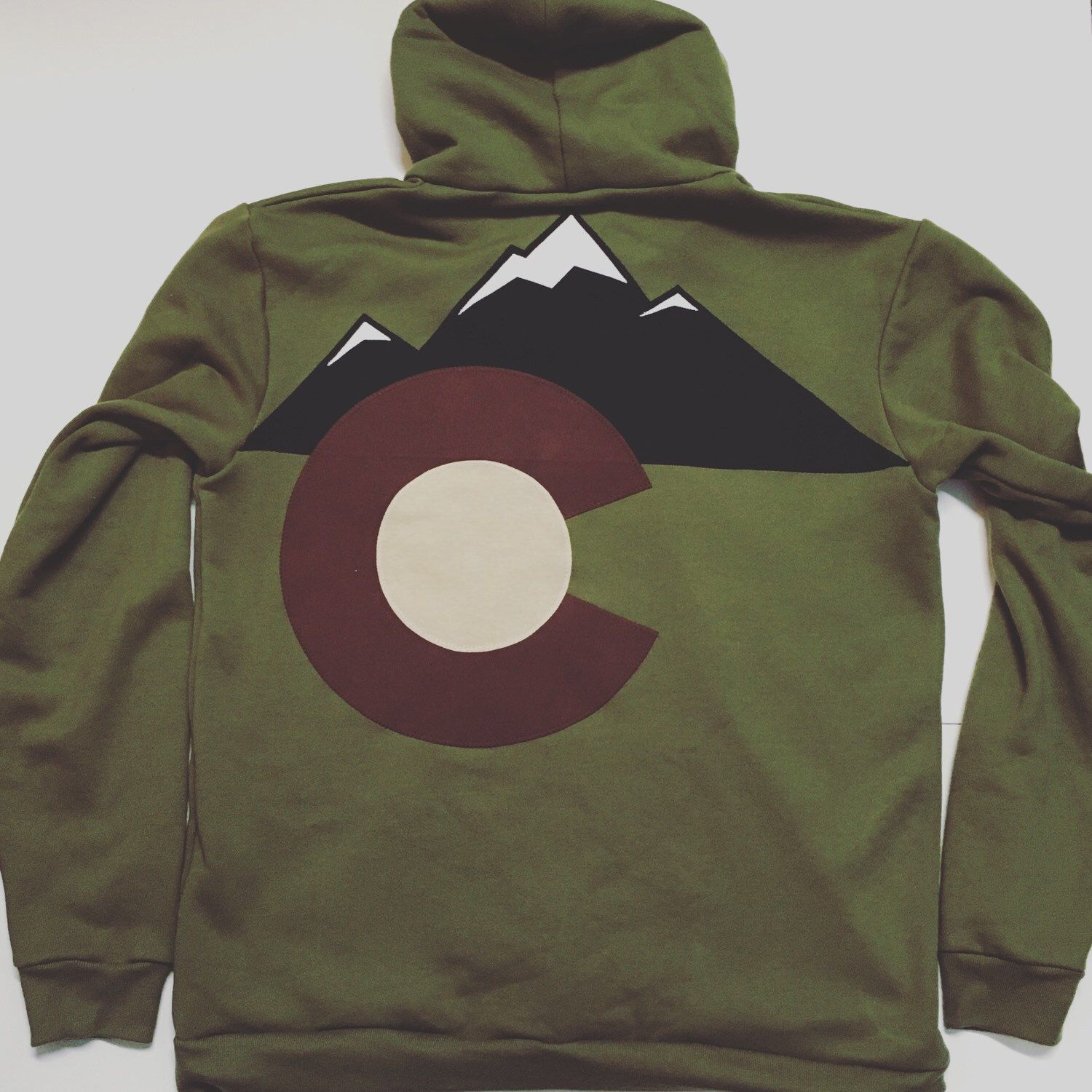 Colorado flag hoodie NEW 2016 olive green MTNS custom Hoodie 3 layer sewn flag zippered sweatshirt jacket sweater juh2P