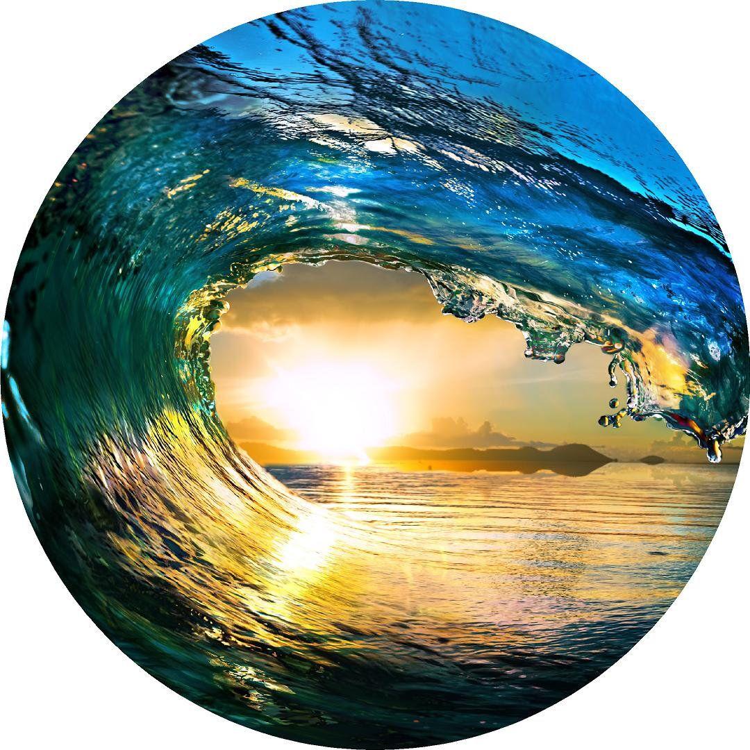 Crashing Wave Ocean Circle Wall Decal Sticker Circle Print Beach ...