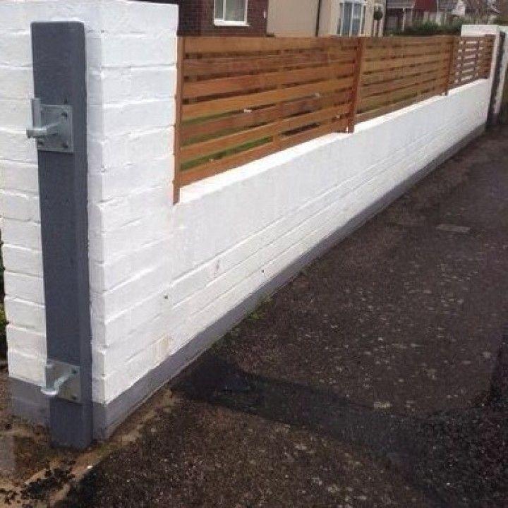 Wooden Slatted Fencing Uk Front Garden Google Search Brick Wall Gardens Brick Fence Backyard Remodel