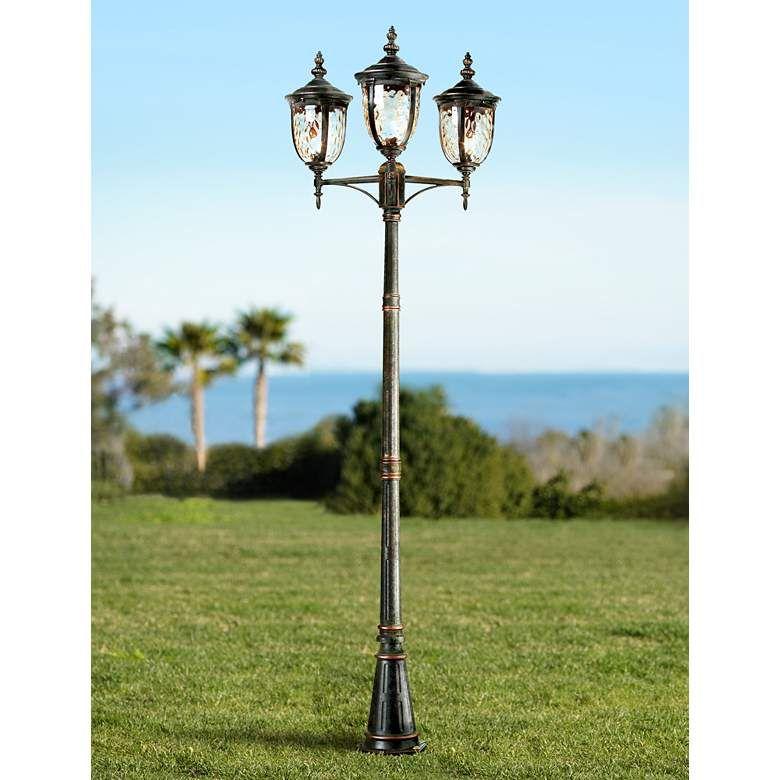 Bellagio 96 High Bronze Outdoor 3 Light Street Lantern 90537 Lamps Plus In 2020 Outdoor Post Lights Lamp Post Lights Post Lights