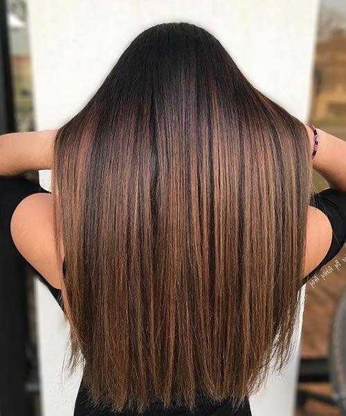 Brown straight hair with balayage in 2020   Balayage straight hair, Brown straight hair, Hair ...