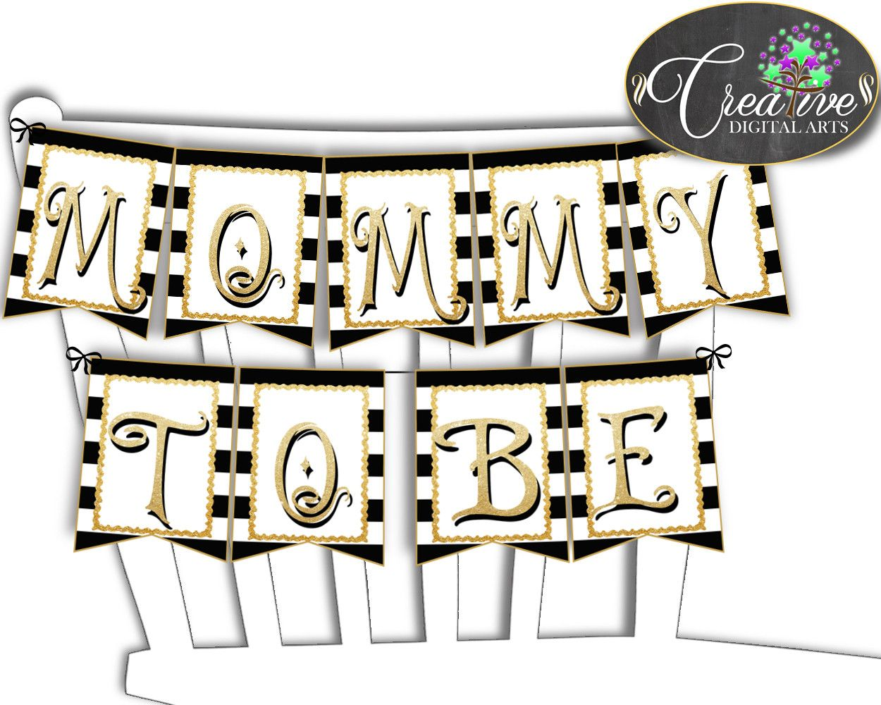Now available at our store: Baby shower CHAIR.... Check it out here! http://snoopy-online.myshopify.com/products/baby-shower-chair-banner-decoration-printable-with-black-white-color-stripes-theme-digital-files-glitter-gold-instant-download-bs001