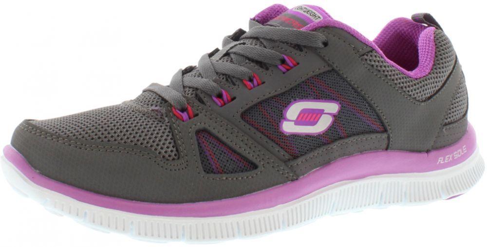 Skechers Charcoal & Purple Running Shoe For Women | Running