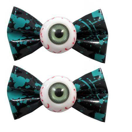 Kreepsville 666 Blood Splat Pair of Eyeball Bow Hair Slides-Green, http://www.amazon.co.uk/dp/B01JIVZJ8O/ref=cm_sw_r_pi_awdl_x_2OGgybZ36XMVM