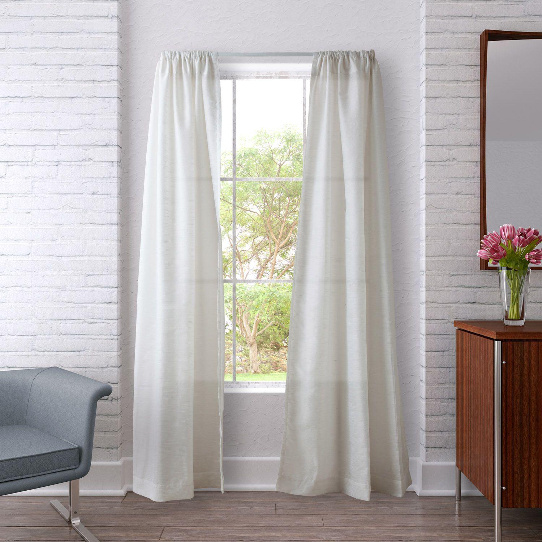 Heritage Landing Sheer Stripe Curtain Panel Pair Ivory 84 Inch Beige Off