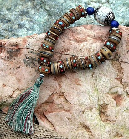 Yakbone wrist mala bracelet - look4treasures on Etsy, $24.95