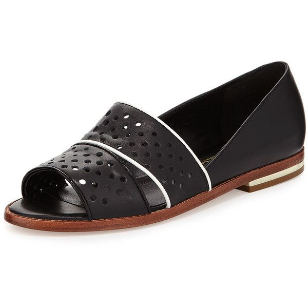 Rebecca Minkoff Sadie Perforated Leather Sandal (7695 RSD) ❤ liked on Polyvore featuring shoes, sandals, black, black high heel sandals, leather loafers, black flat sandals, flat sandals and black flat shoes