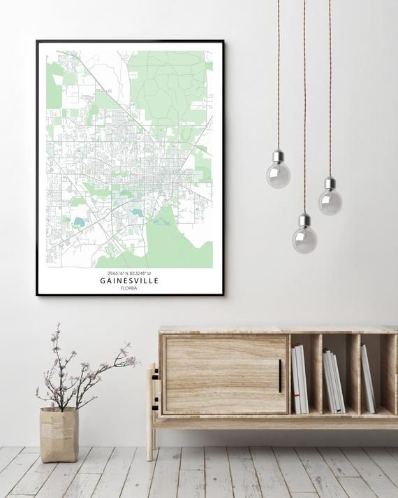 Gainesville FL Map Print, Custom Map Print, Map Wall Art