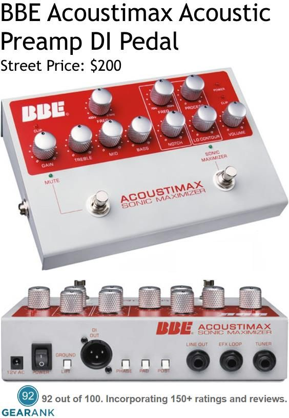 Bbe Acoustimax Acoustic Preamp Di Pedal Features 3 Band Eq With Sweepable Mid Range Band Low Frequen Guitar Pedals Guitar Effects Pedals Guitar Accessories