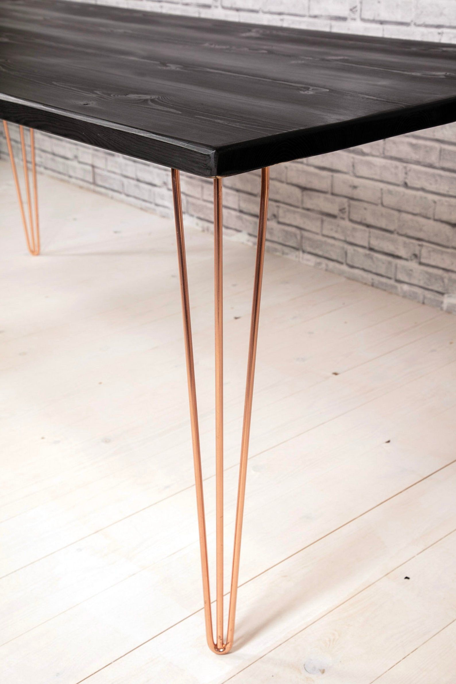 Sleek Modern Black And Copper Kitchen And Dining Table Copper