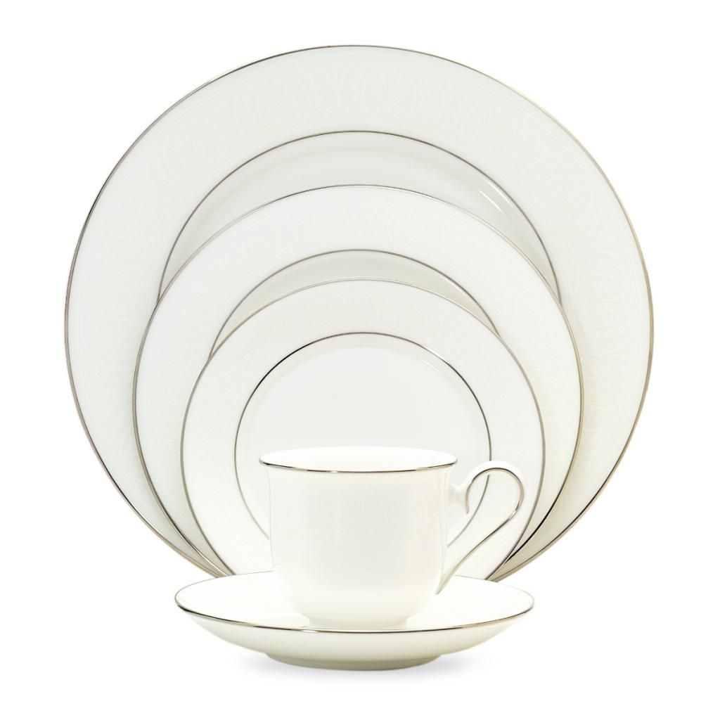 Lenox \'Hannah Platinum\' 20-piece Dinnerware Set, White (Bone China ...