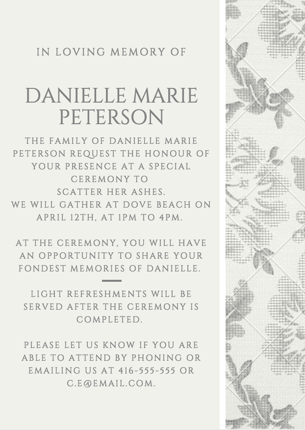 39 Best Funeral Reception Invitations  Funeral Announcement Sample