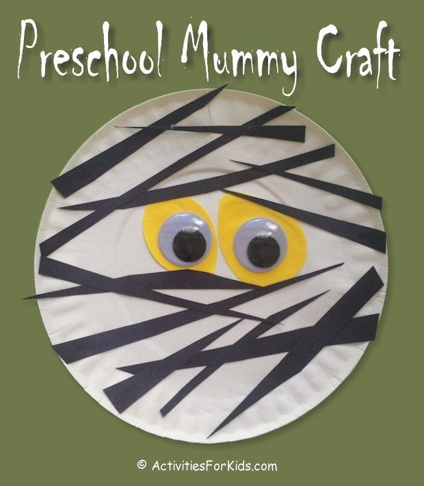 Paper Plate Preschool Mummy Craft #halloweencraftsfortoddlers