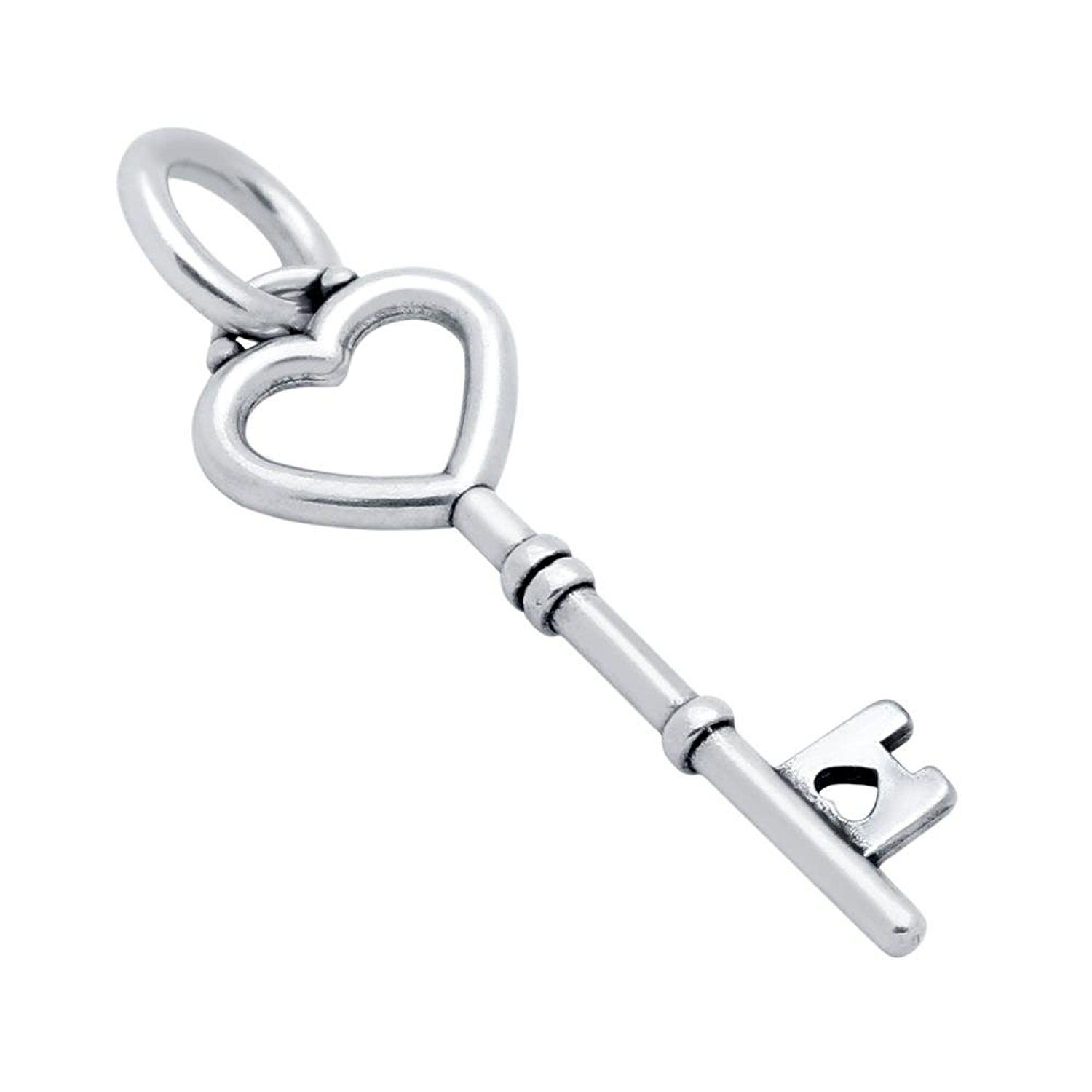 Jenaforte ? .925 Sterling Silver 25MM Small Key With Heart Elements Charm Plain Silver -- You can find out valentines gift ideas at the link of the image.