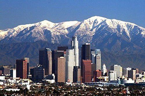 Los Angeles Skyline Poster Amazing La Winter Shot Rare Hot New 24x36 Los Angeles Skyline San Gabriel Mountains Los Angeles Wallpaper