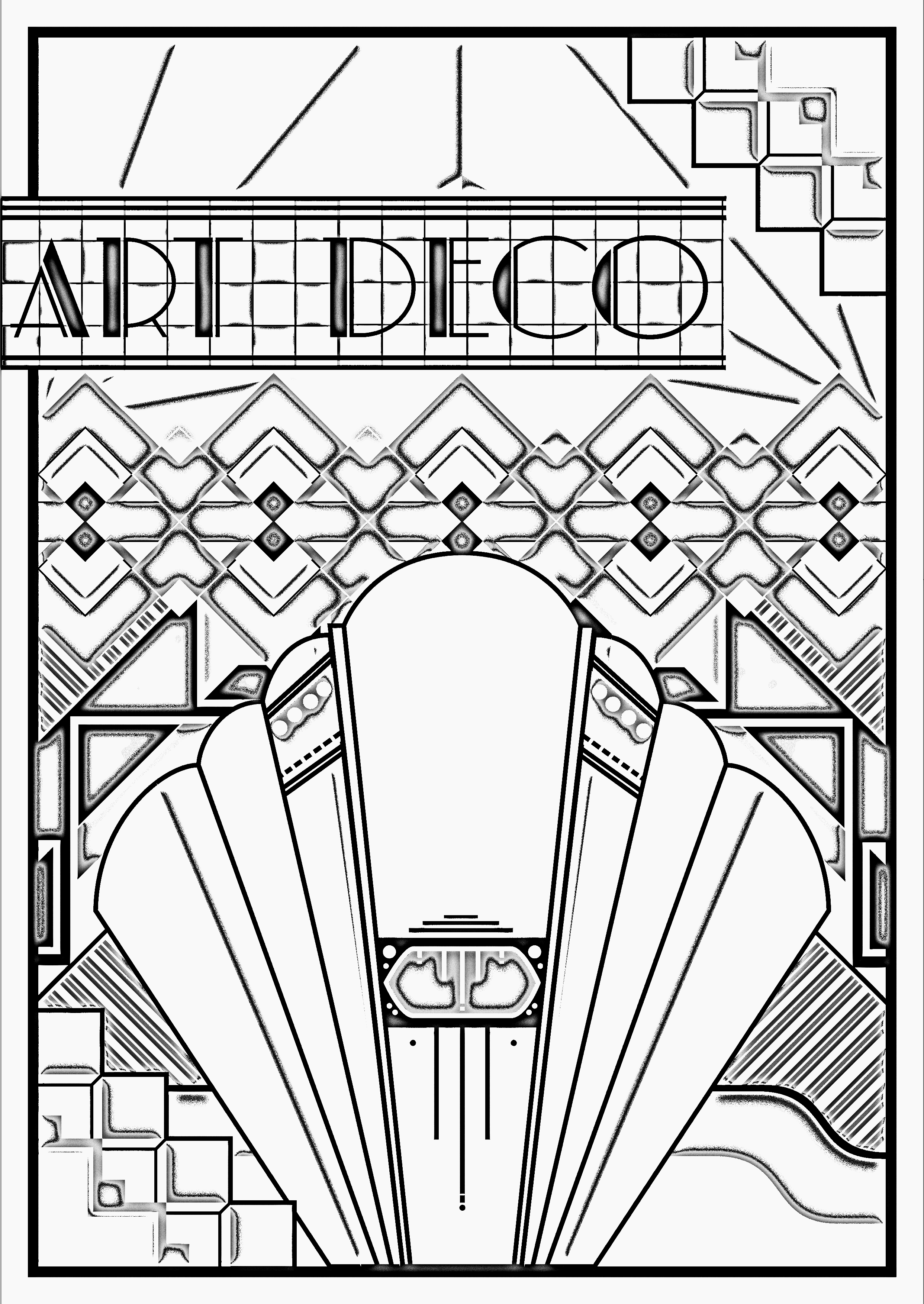 Free Art Deco coloring page. Exclusive content from www