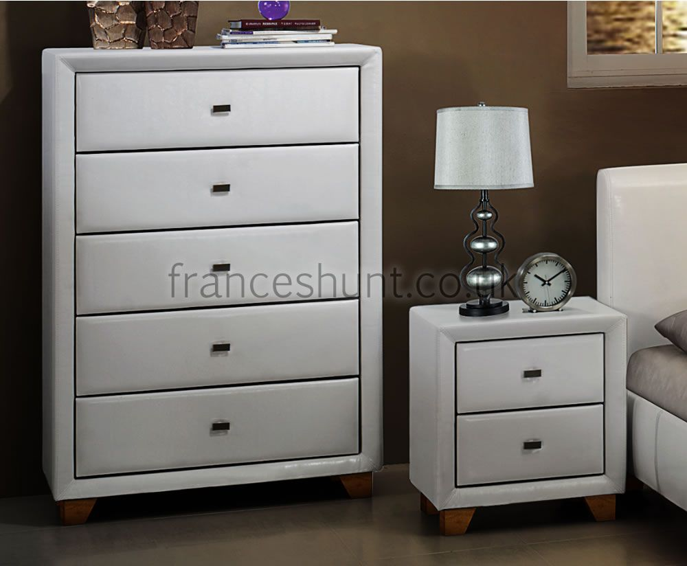 Jersey 5 Drawer White Faux Leather Chest Bedroom