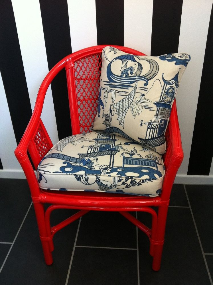 Red Cane Chair With Sanderson Pagoda River Cushions