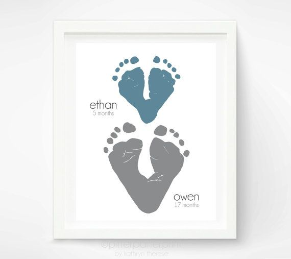 Gift For Grandparents From Children Footprint Hearts Grandma Kids Personalized With Your Childs Feet 8x10 Or 11x14 Inches UNFRAMED