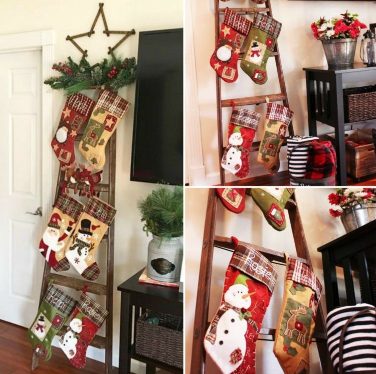Leiter Dekorieren Weihnachtlich Socken Kamin Ersatz Weihnachtsgesteck  Wanddeko #weihnachtsdeko #ideen #christmas #ideas #creative