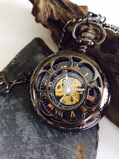 Groomsmen Gift Wedding Antique Black Mechanical Pocket Watch Set Gunmetal Personalized Engravable