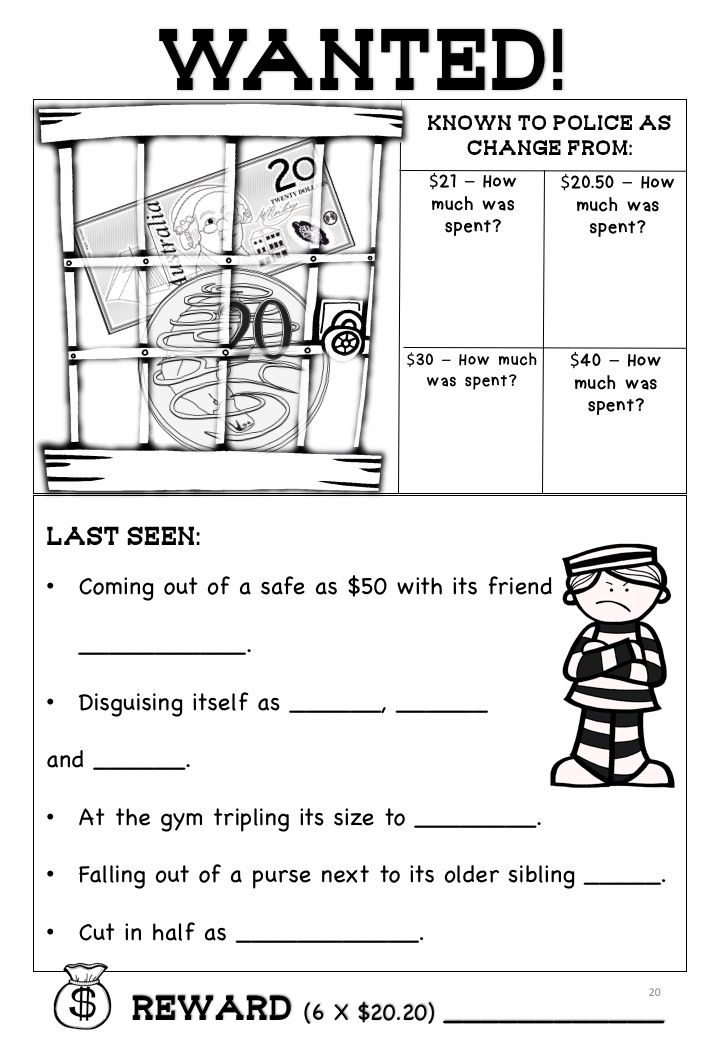 This Is A Worksheet From The Pack Australian Money Worksheets Higher Order Thinking Hots Grades 3 And 4 The Money Worksheets Australian Money Teaching Money